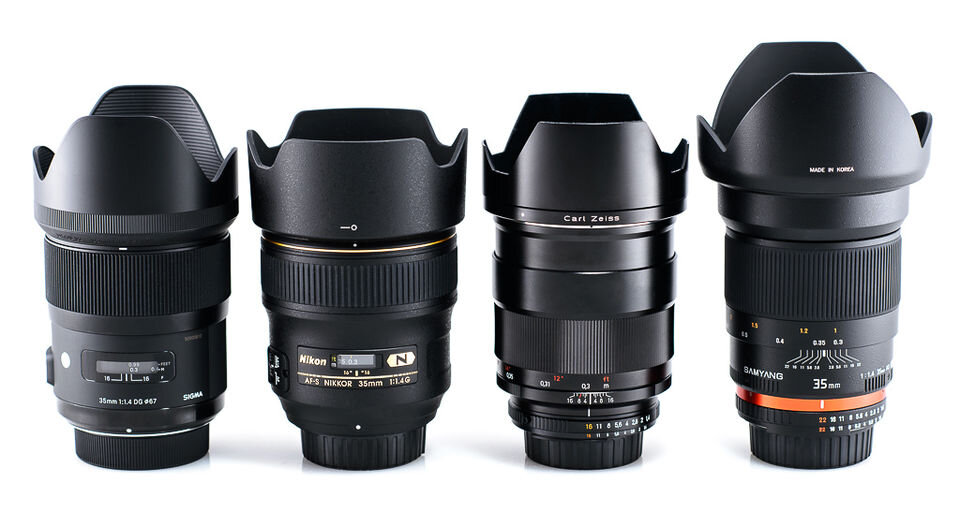 Từ trái sang phải: Sigma 35mm f / 1.4, Nikon 35mm f / 1.4, Zeiss 35mm f / 1.4 và Samyang 35mm f / 1.4