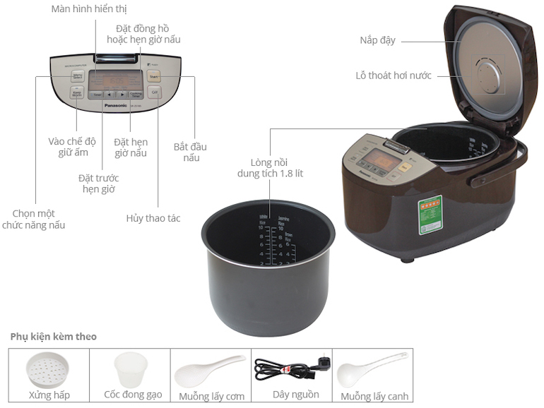 Nồi cơm điện đa năng Panasonic SR-ZS185TRAM - 1.8 lít