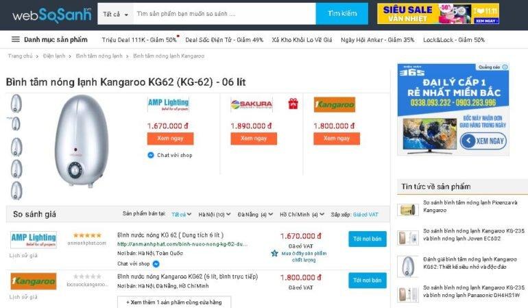 Bình tắm nóng lạnh Kangaroo KG62 (KG-62) 06 lít - Giá rẻ nhất: 1.670.000 vnđ