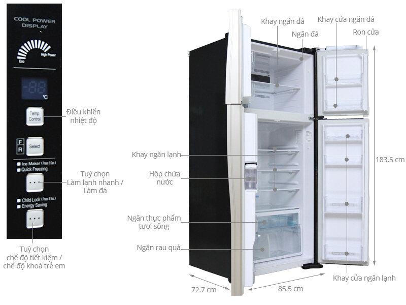 Tủ lạnh dung tích lớn Hitachi R-W660FPGV3X GBK thích hợp cho gia đình trên 7 người