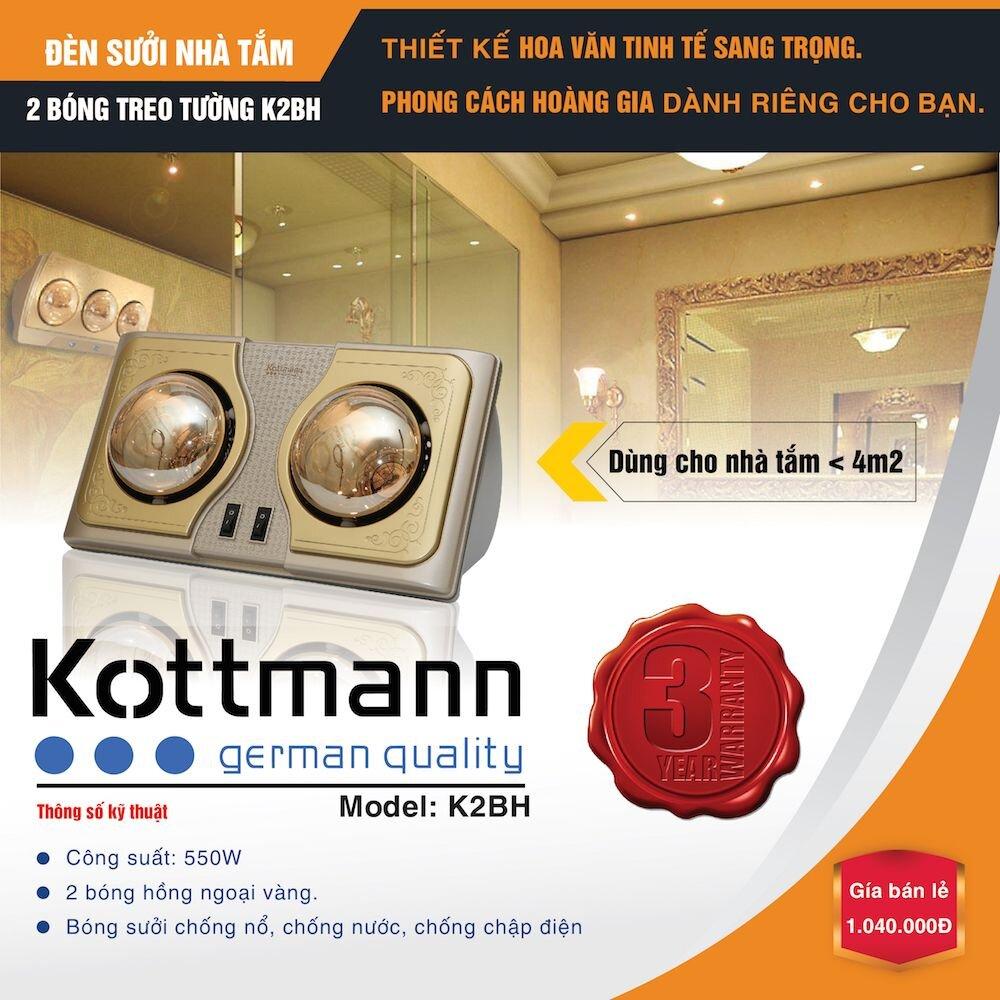 Đèn sưởi nhà tắm kottmann K2B-H 2 bóng an toàn với nước