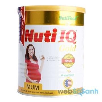 Nuti IQ Mum là sản phẩm sữa bột dành cho bà bầu khá tốt cho phụ nữ mang thai và cho con bú