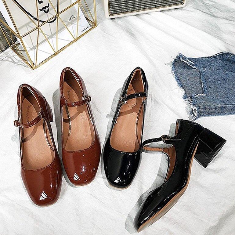 giày búp bê mũi vuông cao gót