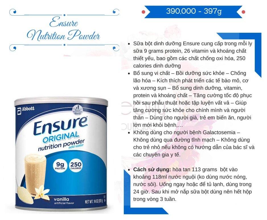 sữa ensure cho người gầy