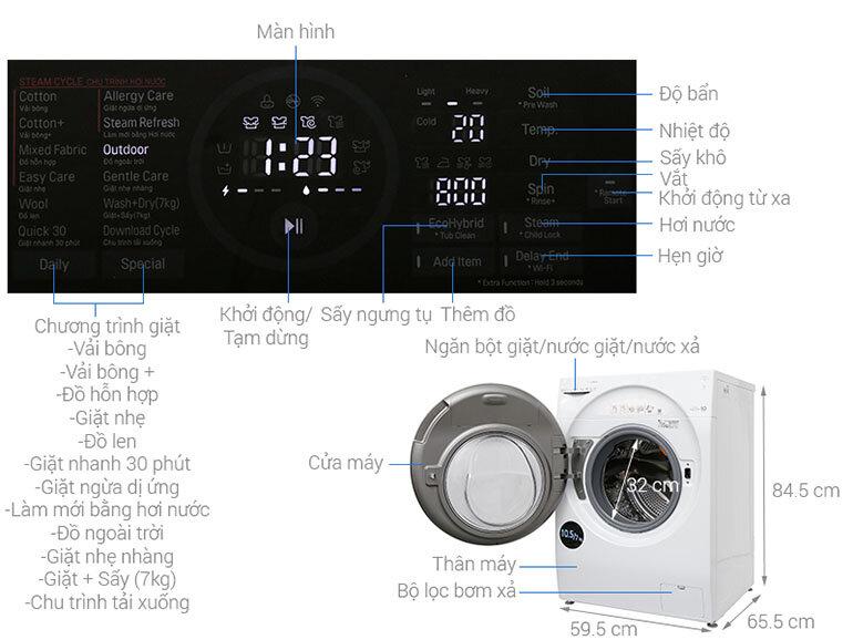 Máy giặt sấy LG FG1405H3W 10.5kg là sản phẩm của LG Electronics