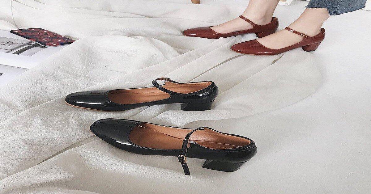 giày búp bê cao gót quai ngang