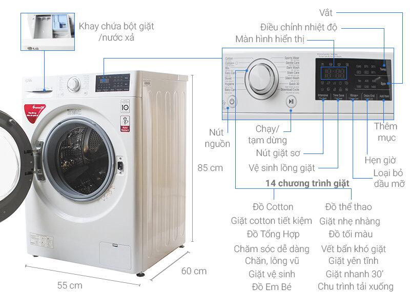Máy giặt LG có 14 chương trình giặt tự động