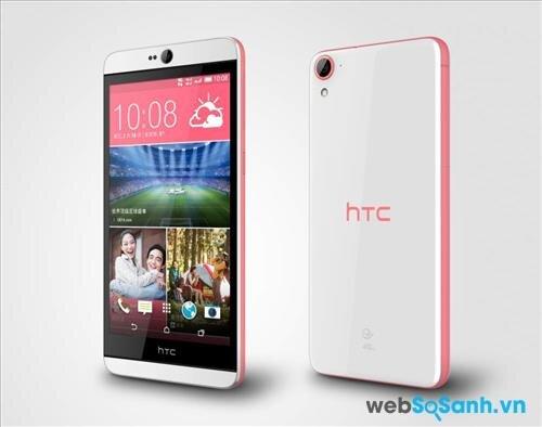 Điện thoại Desire 826 có thiết kế nguyên khối cùng sự kết hợp 2 tông màu ấn tượng