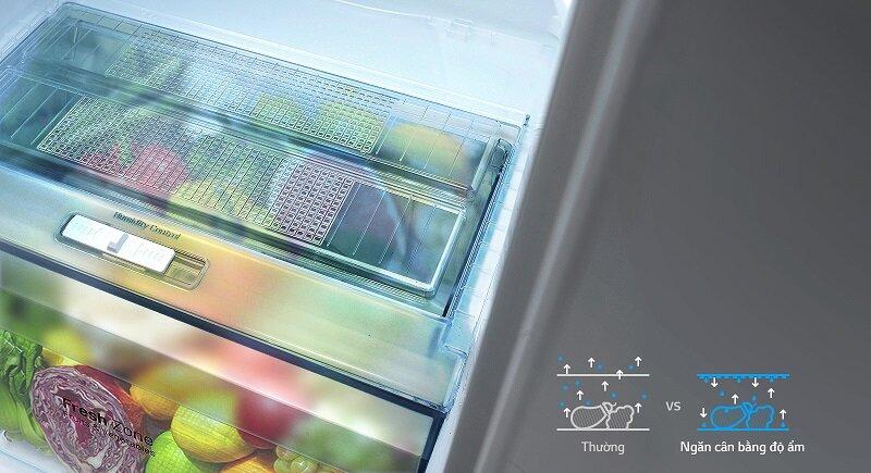 Tủ lạnh Side-by-Side GR-B247JP sở hữu ngăn cân bằng độ ẩm hiện đại
