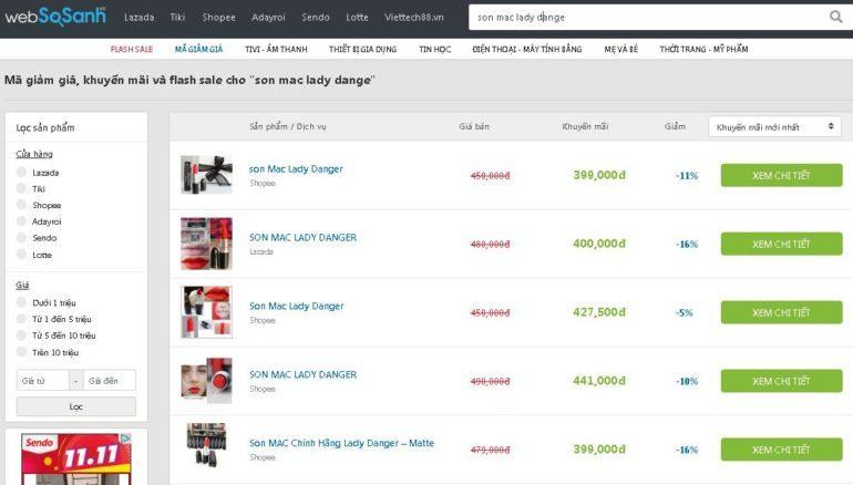 Son Mac Lady Dange sale 16% giá chỉ còn 399.000 vnđ