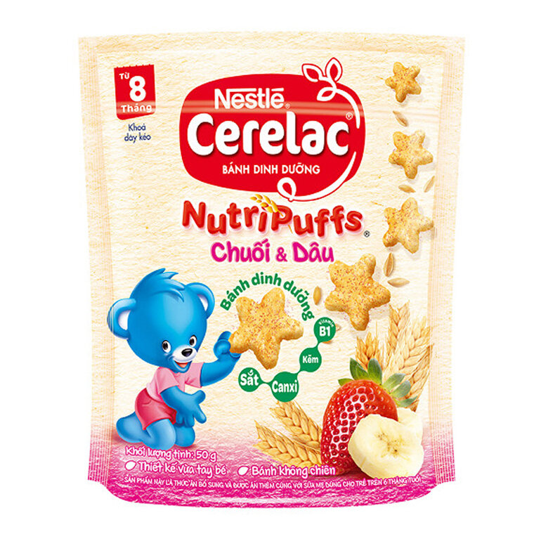 Bánh ăn dặm cho trẻ 8 tháng Nestlé Cerelac Nutripuffs