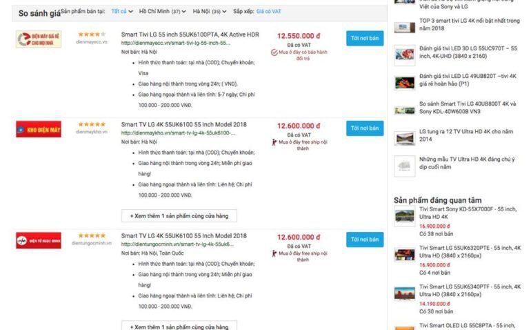 click vào so sánh giáSmart Tivi LG 4K 55 inch 55UK6100PTA thì thấy em rẻ nhất là 12tr550k