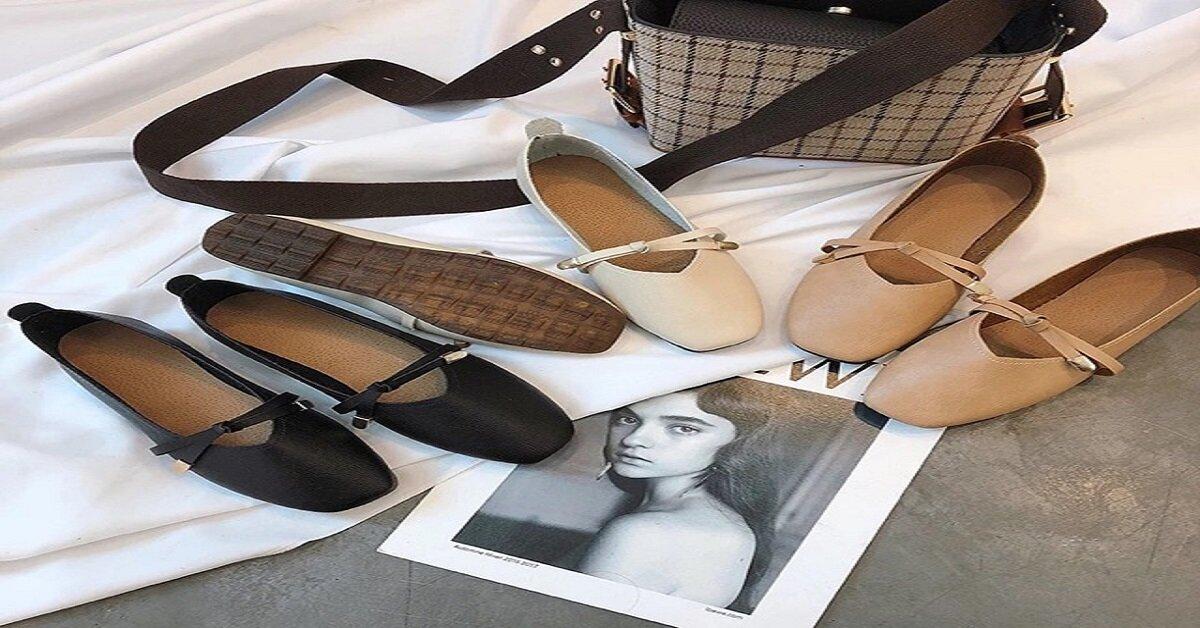 giày búp bê cao cấp mũi vuông