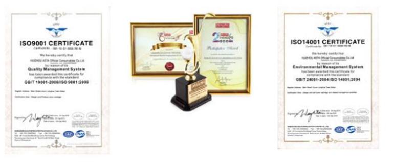 Sản phẩm đạt tiêu chuẩn quốc tế: ISO9001, ISO14001…. với nhiều giải thưởng đạt được trên thế giới