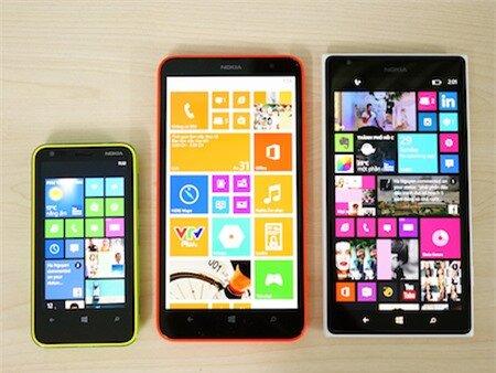 Lumia 1320 khi đặt cạnh Lumia 620 và Lumia 1520.