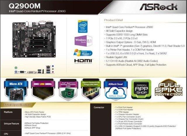 Asrock tung ra 2 bo mạch chủ sử dụng CPU pentium J2900