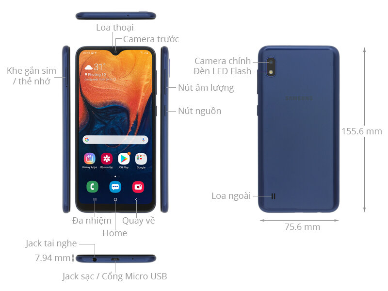 Điện thoại Samsung 2 sim tốt nhất Galaxy A10