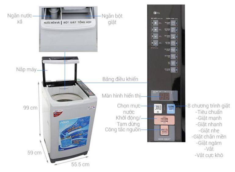 Máy giặt Aqua 8.0 Kg AQW-S80AT - Giá tham khảo: 3.700.000 vnđ