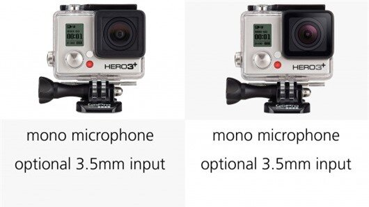GoPro Her3+ or Hero4 users can attach external stereo microphones via an optional 3.5 mm i...