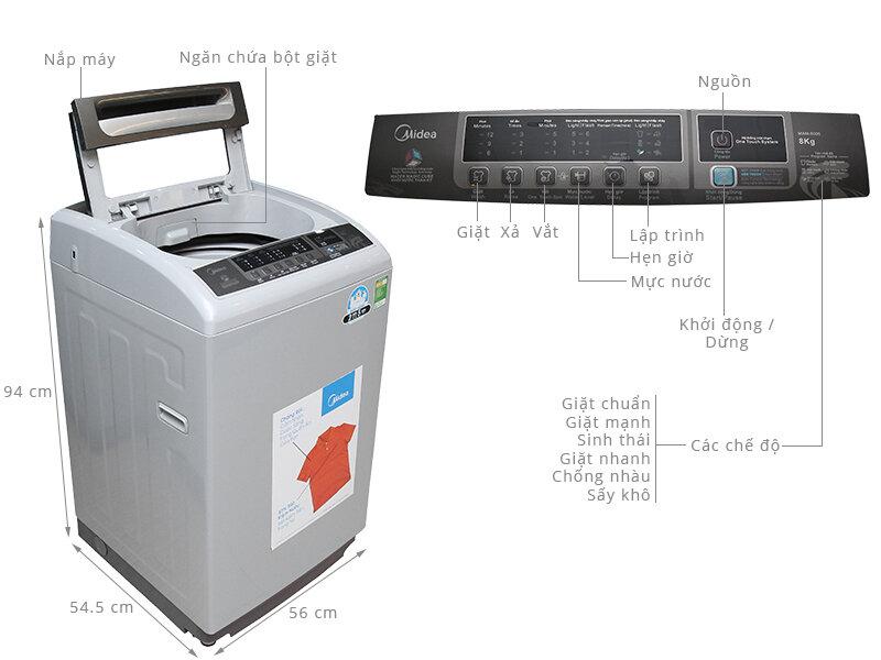 Máy giặt lồng đứng Midea MAM-8006 với thiết kế nhỏ gọn và công suất giặt khủng 8kg
