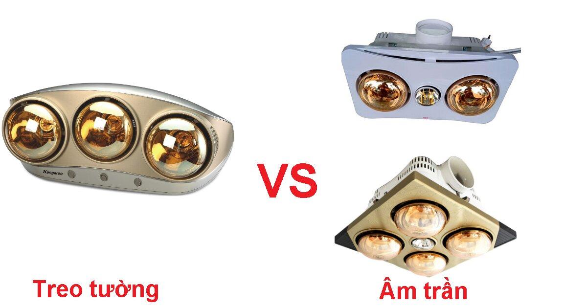 Nên lắp đèn sưởi nhà tắm âm trần hay treo tường?