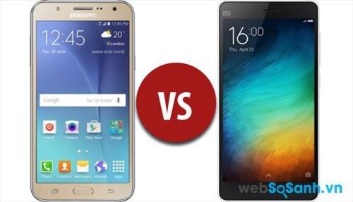 Điện thoại Galaxy J7 có màn hình lớn hơn 0.5 inch so với Xiaomi Mi4i, nhưng độ phân giải và mật độ điểm ảnh lại thấp hơn