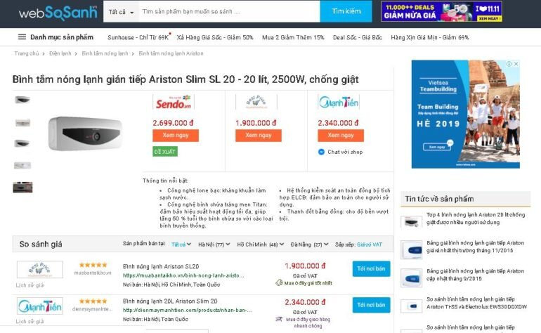 Giá bình tắm nóng lạnh Ariston SL 20 20 lít 2500W bao nhiêu tiền ?