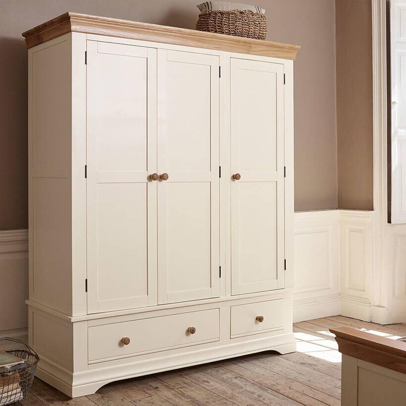 Tủ quần áo Cozino 3 cánh làm từ gỗ sồi trắng nhập khẩu từ Mỹ