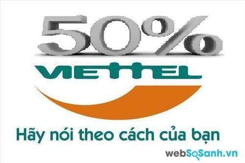 Viettel tặng 50% tất cả các mệnh giá thẻ nạp và không giới hạn số lượng cho các thuê bao trả trước trong ngày 1/8/2015