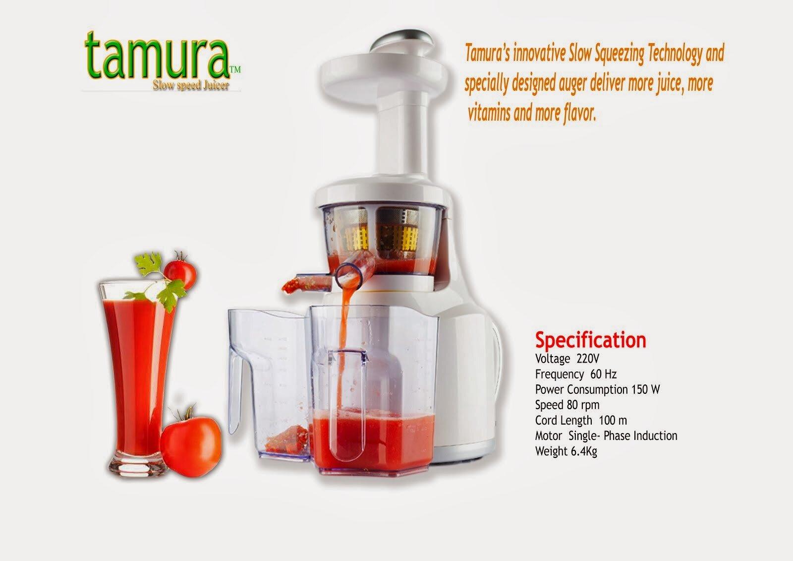 Máy ép trái cây của hãng Tamura có cơ chế hoạt động ép chậm