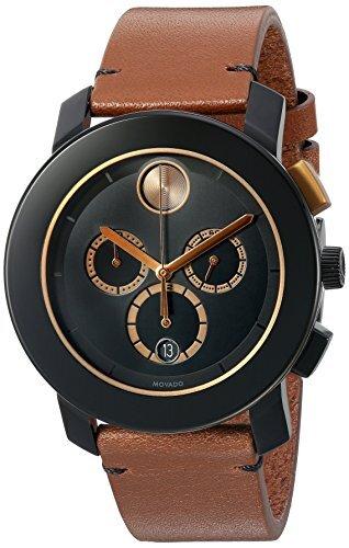 Đồng hồ nam dây da và thép không gỉ của Movado nam Thụy Sĩ, Màu: Nâu (Mẫu: 3600348)