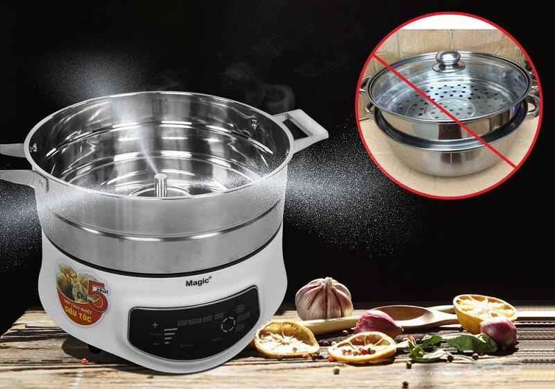 Khả năng nấu nhiều món cùng lúc và làm chín thức ăn nhanh bằng phương pháp thuỷ nhiệt siêu tốc khiến nồi Magic Korea A67 được yêu thích sử dụng