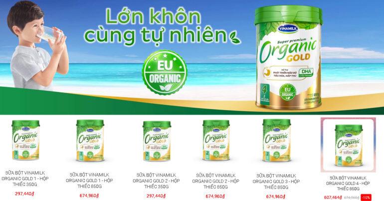 Sữa bột công thức Vinamilk Organic Gold có tốt không ? Có mấy loại ? Giá bao nhiêu tiền ?