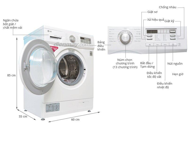 Máy giặt LG cửa trước Inverter 7kg WD-9600