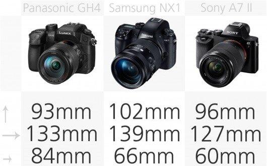 High-end mirrorless camera dimensions comparison (row 2)