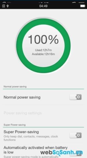 điện thoại Joy Plus là 1700 mAh, cùng với đó là chế độ siêu tiết kiệm pin Super Power-saving để đảm bảo kết nối của điện thoại được liên tục không bị gián đoạn.