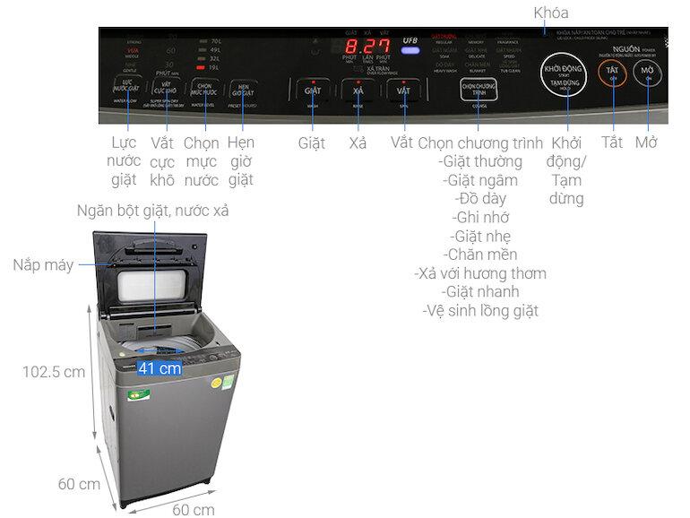 Máy giặt Toshiba AW-DUH1100GV, 10kg, Inverter tiết kiệm điện năng và vận hành êm ái