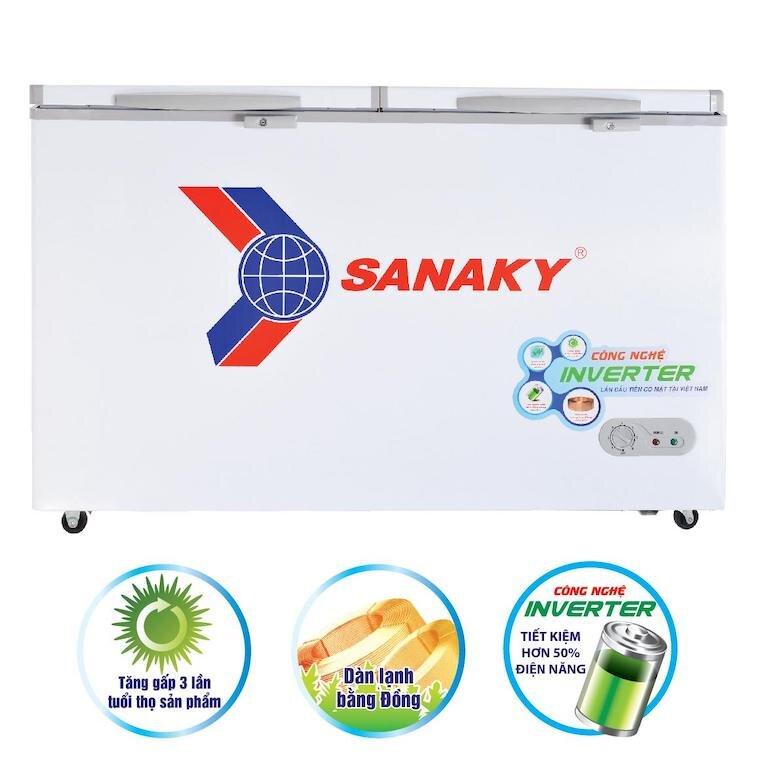 Tủ đông Sanaky vh4099w3 sử dụng dàn lạnh bằng đồng nguyên chất
