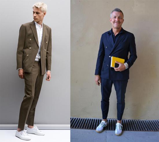 Kết hợp giầy sneaker với bộ suit vest dáng ngắn