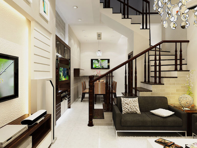 Thiết kế nội thất phòng khách nhà ống dễ dàng định hình phong cách