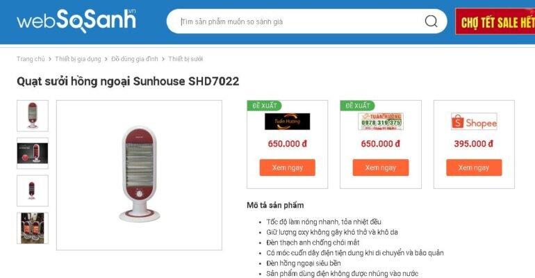 Giá đèn sưởi hồng ngoại Sunhouse bao nhiêu tiền?