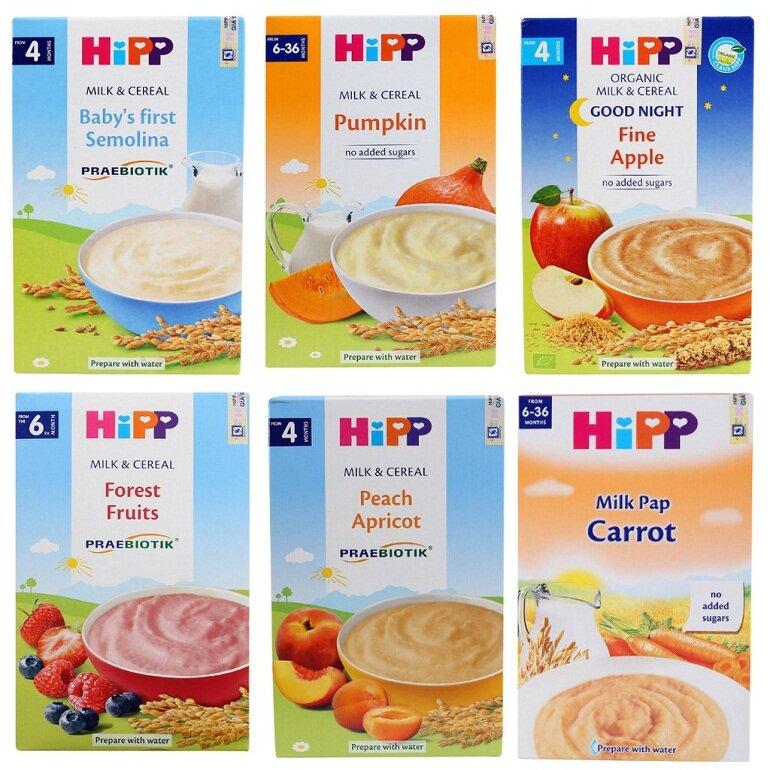 Bột ăn dặm Hipp có nhiều loại với hương vị khác nhau