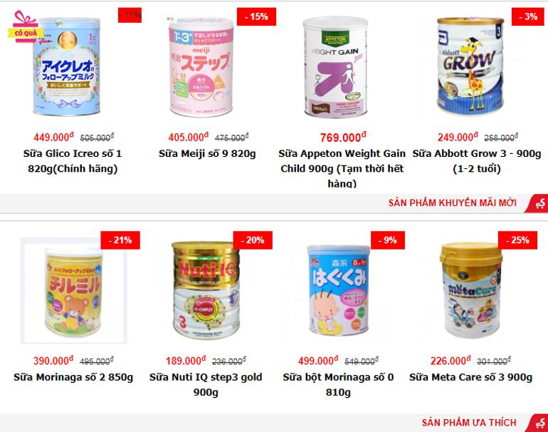 Sữa bột chính hãng từ thương hiệu nổi tiếng