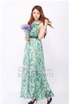 Đầm maxi (có 5 màu) voan hoa xếp li đi biển 521075 - Shop bán sỉ quần áo thời trang Title Xanh lá