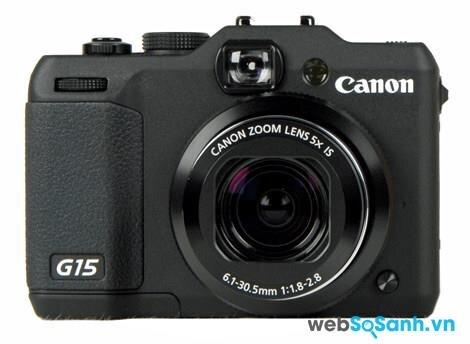 Ống kính của máy ảnh compact Canon PowerShot G15 có tiêu cự 6.1- 30.5 mm tương đương tiêu cự 28-140mm trên máy ảnh fullframe