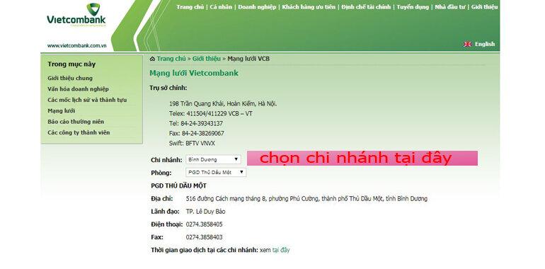 Vào website chính của ngân hàng Vietcombank để tìm địa chỉ gần chỗ bạn