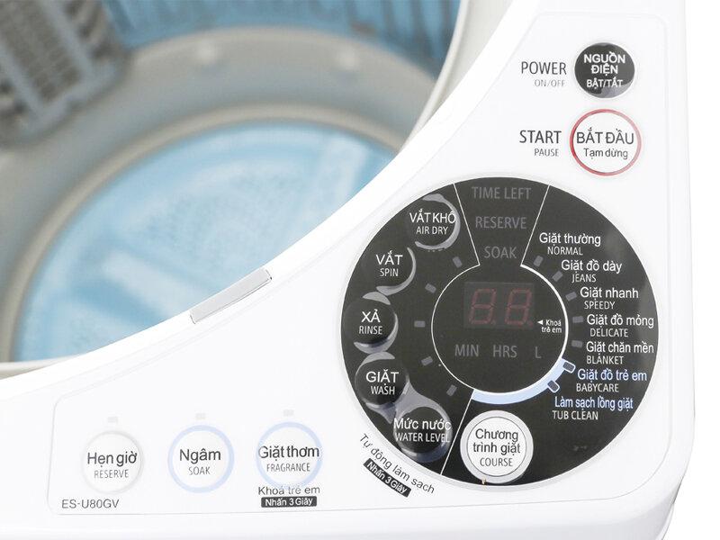 Bề mặt bảng điều khiển máy giặt lồng đứng Sharp