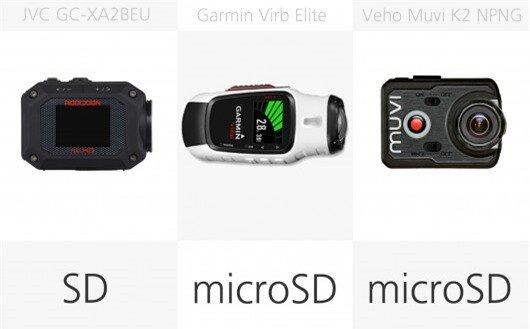 Action camera storage media comparison (row 3)
