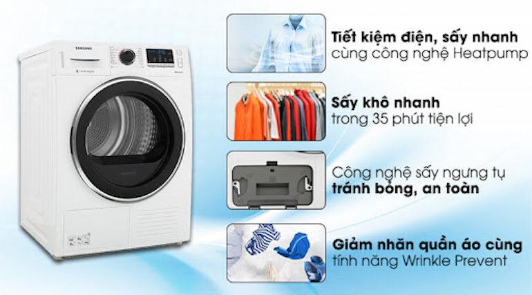 Máy sấy áo quần được trang bị hệ thống sấy quần áo thông minh giúp quần áo được sấy khô nhanh chóng