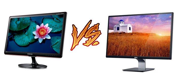Màn hình máy tính Samsung S22B370B (trái) và Dell S2240L (phải)